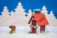 Tarjeta de Navidad del invierno con un conejito cerca de la casa Foto de archivo