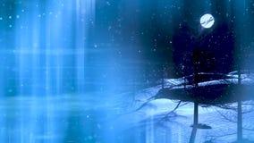 Tarjeta de Navidad del invierno, fondo del paisaje con la pantalla verde que celebra con los fuegos artificiales stock de ilustración