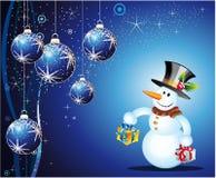 Tarjeta de Navidad del muñeco de nieve Imagen de archivo