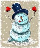 Tarjeta de Navidad del muñeco de nieve de la historieta ilustración del vector