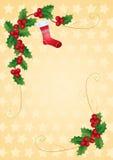 Tarjeta de Navidad del oro con acebo Fotos de archivo