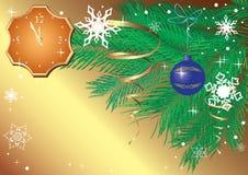 Tarjeta de Navidad del oro con el reloj Imágenes de archivo libres de regalías