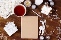 Tarjeta de Navidad del papel en blanco copyspace del invierno y de la Navidad co Imagen de archivo libre de regalías