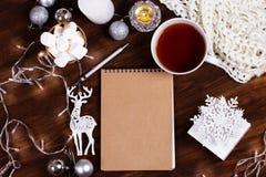 Tarjeta de Navidad del papel en blanco copyspace del invierno y de la Navidad co Fotos de archivo libres de regalías