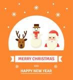 Tarjeta de Navidad del saludo Caracteres del Año Nuevo - ejemplo de las vacaciones de invierno en estilo plano Imagenes de archivo