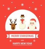 Tarjeta de Navidad del saludo Caracteres del Año Nuevo - ejemplo en estilo plano Imagen de archivo libre de regalías