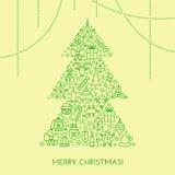 Tarjeta de Navidad del saludo con el árbol hecho con los iconos del esquema Imagen de archivo