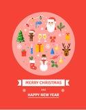 Tarjeta de Navidad del saludo Símbolos del Año Nuevo - ejemplo en estilo plano Imagen de archivo