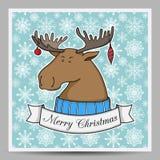 Tarjeta de Navidad del vector con los alces de la historieta Fotos de archivo libres de regalías