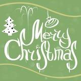 Tarjeta de Navidad del vector con los elementos del bosquejo blanco, verde y amarillo Ilustración EPS10 del vector Foto de archivo