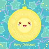 Tarjeta de Navidad del vector en el estilo de Kawaii Imagen de archivo libre de regalías