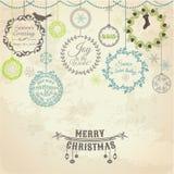 Tarjeta de Navidad del vintage Fotografía de archivo libre de regalías