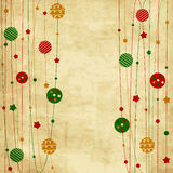 Tarjeta de Navidad del vintage con las bolas y las estrellas de Navidad Foto de archivo libre de regalías