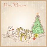 Tarjeta de Navidad del vintage con los regalos y los presentes. Vec Imagenes de archivo