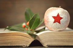 Tarjeta de Navidad del vintage: Manzana de la Navidad, bayas y libro viejo Foto de archivo libre de regalías