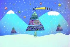 Tarjeta de Navidad divertida, árboles de navidad en un paisaje nevoso Imagen de archivo libre de regalías