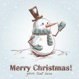 Tarjeta de Navidad drenada mano de la vendimia Imágenes de archivo libres de regalías
