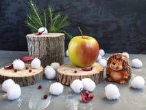 Tarjeta de Navidad El erizo encontró una manzana grande en el cáñamo del bosque Bolas de nieve, hojas de otoño secas imagen de archivo libre de regalías