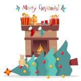 Tarjeta de Navidad - el gato cayó el árbol de navidad y se sienta en él en el fondo blanco Saludando la inscripción adornada con  ilustración del vector