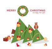Tarjeta de Navidad - el gato cayó el árbol de navidad y se sienta en él en un fondo blanco Saludando la inscripción adornada con  stock de ilustración