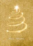 Tarjeta de Navidad elegante del brillo del oro Imagenes de archivo