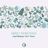 Tarjeta de Navidad Elementos de la Navidad Fotografía de archivo