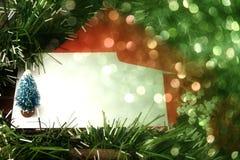 Tarjeta de Navidad en blanco con las luces borrosas Foto de archivo libre de regalías