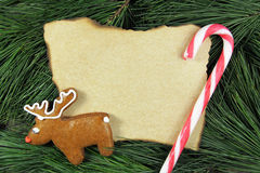 Tarjeta de Navidad en blanco en árbol de abeto con el pan de jengibre y el bastón del reno Fotos de archivo libres de regalías