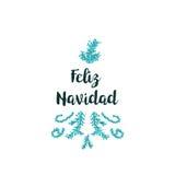 Tarjeta de Navidad en el fondo blanco con los elementos y el texto azules ilustración del vector