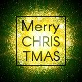 Tarjeta de Navidad en fondo abstracto de la explosión con los elementos del oro y la explosión que brillan de la estrella que bri Foto de archivo libre de regalías
