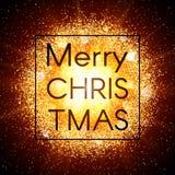 Tarjeta de Navidad en fondo abstracto de la explosión con los elementos del oro y la explosión que brillan de la estrella que bri Fotos de archivo libres de regalías