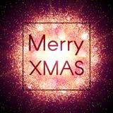 Tarjeta de Navidad en fondo abstracto de la explosión con los elementos que brillan del oro Imagen de archivo