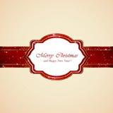 Tarjeta de Navidad en fondo beige Foto de archivo libre de regalías