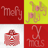 Tarjeta de Navidad en un diseño colorido contemporáneo de la teja con la fuente de Lolli y la caja de regalo dulces hechas a mano stock de ilustración