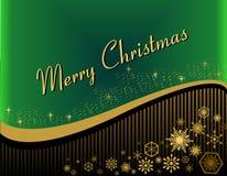 Tarjeta de Navidad en un fondo verde con los copos de nieve stock de ilustración
