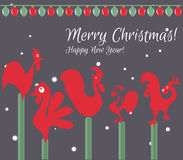 Tarjeta de Navidad ¡Feliz Navidad! Feliz Año Nuevo Imágenes de archivo libres de regalías