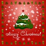 Tarjeta de Navidad Fondo de la Navidad con el árbol de navidad y el regalo Foto de archivo libre de regalías