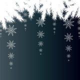 Tarjeta de Navidad Fondo del invierno con las ramas spruce con nieve Fotos de archivo libres de regalías