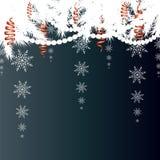 Tarjeta de Navidad Fondo del invierno con las ramas spruce con nieve Fotos de archivo