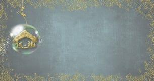 Tarjeta de Navidad formato panorámico de la escena de la natividad stock de ilustración