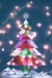Tarjeta de Navidad hecha de luces Fotos de archivo libres de regalías