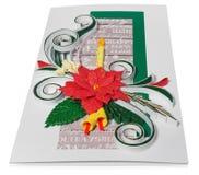 Tarjeta de Navidad hecha a mano con saludos y poins de la Feliz Navidad Imagen de archivo libre de regalías