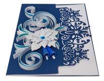 Tarjeta de Navidad hecha a mano con saludos y poins de la Feliz Navidad Imágenes de archivo libres de regalías