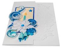 Tarjeta de Navidad hecha a mano con saludos y poins de la Feliz Navidad Imagen de archivo