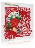 Tarjeta de Navidad hecha a mano con saludos y poins de la Feliz Navidad Foto de archivo