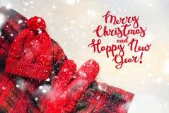 Tarjeta de Navidad hecha punto del día de fiesta de la manopla de Red Hat Imagen de archivo libre de regalías