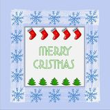 Tarjeta de Navidad hermosa con el árbol de navidad, los copos de nieve y los calcetines del Año Nuevo Vector libre illustration