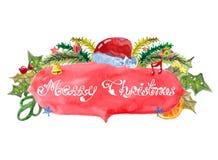 Tarjeta de Navidad hermosa de la acuarela Foto de archivo libre de regalías
