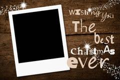 Tarjeta de Navidad inmediata vacía del marco de la foto Imagenes de archivo