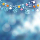 Tarjeta de Navidad, invitación Decoración del partido del invernadero Vector el ejemplo con la cadena de luces, copos de nieve Imagenes de archivo